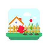 Il vettore di concetto, la casa del villaggio ed il giardino di giardinaggio con i fiori abbelliscono Fotografia Stock Libera da Diritti