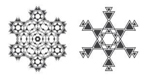 Il vettore di Israel Jew Ethnic Fractal Mandala assomiglia al fiocco di neve o Fotografie Stock