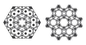 Il vettore di Israel Jew Ethnic Fractal Mandala assomiglia al fiocco di neve o Immagini Stock