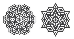 Il vettore di Israel Jew Ethnic Fractal Mandala assomiglia al fiocco di neve o Fotografie Stock Libere da Diritti