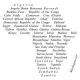 Il vettore di nomi di paesi traccia la siluetta dell'Africa Fotografia Stock Libera da Diritti