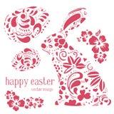 Il vettore di Pasqua ha messo con le uova rosa decorate ed il coniglietto Immagine Stock Libera da Diritti
