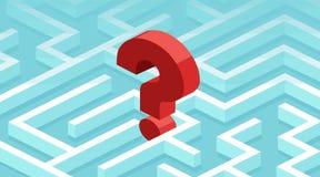 Il vettore di un punto interrogativo ha perso in un labirinto fotografie stock libere da diritti