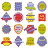 Il vettore di vendita di Black Friday Badges ed etichette Fotografia Stock