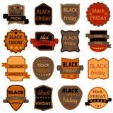 Il vettore di vendita di Black Friday Badges ed etichette Immagine Stock