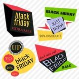Il vettore di vendita di Black Friday Badges ed etichette Fotografia Stock Libera da Diritti