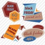 Il vettore di vendita di Black Friday Badges ed etichette Immagini Stock Libere da Diritti
