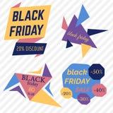 Il vettore di vendita di Black Friday Badges ed etichette Fotografie Stock