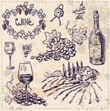 Il vettore disegnato a mano ha messo - vino e fabbricazione di vino Illustrazione di Stock