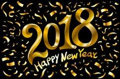 Il vettore fondo del nero di 2018 nuovi anni con i coriandoli di scintillio dell'oro schizza la struttura Modello premio festivo  illustrazione vettoriale
