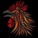 Il vettore ha colorato il gallo fatto dei fiori Fotografia Stock Libera da Diritti