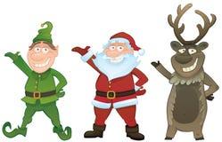 Il vettore ha impostato con Santa, l'elfo e Rudolph Immagini Stock Libere da Diritti