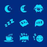 Il vettore ha isolato le icone bianche di concetto di sonno messe Fotografie Stock Libere da Diritti