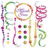 Il vettore ha messo con le perle di Mardi Gras del profilo in verde, nella porpora e nel giallo isolate su fondo bianco Perla dec royalty illustrazione gratis