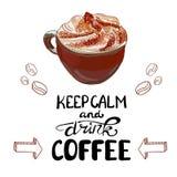 Il VETTORE ha schizzato la tazza del cappuccino con le lettere scritte a mano: ` Di tempo del CAFFÈ del ` Immagine Stock Libera da Diritti