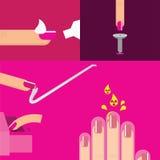 Il vettore inchioda la cura di bellezza del salone del manicure Immagini Stock
