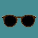 Il vettore isolato occhiali da sole marroni di colore dei pantaloni a vita bassa su un indaco tinge il fondo Fotografie Stock
