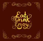 Il vettore mangia la bevanda gode dell'segnare di, lettere calligrafiche dorate che splendono sul fondo rosso scuro, stagnola di  illustrazione vettoriale