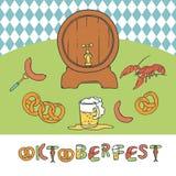 Il vettore Oktoberfest stabilito ha isolato l'illustrazione di schizzo una tazza e un barile della birra, della salsiccia dell'ap Fotografie Stock Libere da Diritti
