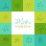 Il vettore pensa il concetto verde nello stile lineare Fotografia Stock Libera da Diritti
