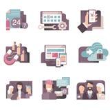 Il vettore piano delle icone di pendenza ha messo nei colori alla moda della gente di affari, dello sviluppo di web, della call c illustrazione vettoriale