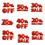 Il vettore promozionale del discount firma con le percentuali dei prezzi fuori dalle azione illustrazione di stock