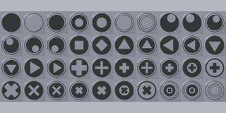 Il vettore quadrato del bottone con i triangoli delle icone del triangolo dei quadrati dei cerchi degli incroci con ombra e dei p Fotografia Stock Libera da Diritti