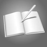 Il vettore realistico bianco in bianco ha aperto il libro e la penna illustrazione di stock