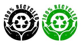 Il vettore 100% ricicla il bollo Immagine Stock