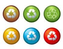 Il vettore ricicla le icone dei tasti Immagini Stock