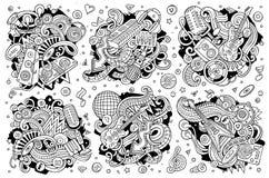 Il vettore scarabocchia l'insieme del fumetto delle combinazioni degli oggetti di musica della discoteca Fotografie Stock