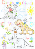 Il vettore schizza i bambini ed i dinosauri felici Fotografia Stock Libera da Diritti