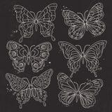 Il vettore, siluetta bianca, ha messo le varie farfalle decorative Fotografia Stock