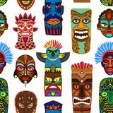 Il vettore tribale della maschera che maschera l'insieme etnico dell'illustrazione del masque del fronte dell'Azteco e della cult illustrazione di stock