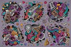 Il vettore variopinto scarabocchia l'insieme del fumetto delle combinazioni degli oggetti di musica della discoteca Fotografie Stock Libere da Diritti