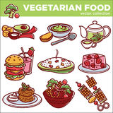 Il vettore vegetariano del menu della verdura dei piatti o del vegano dell'alimento ha isolato le icone Fotografia Stock