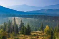 Il viaggiatore con zaino e sacco a pelo sta camminando attraverso erba alta nelle montagne di autunno Fotografia Stock Libera da Diritti