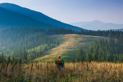 Il viaggiatore con zaino e sacco a pelo sta camminando attraverso erba alta nelle montagne di autunno Immagini Stock