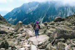 Il viaggiatore della donna con lo zaino che segue i bastoni completa la montagna Fotografia Stock
