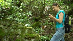 Il viaggiatore sveglio di blogger della donna spara il video della foresta tropicale verde della montagna dallo smartphone archivi video