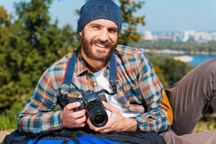Il viaggio è impossibile senza macchina fotografica Fotografie Stock Libere da Diritti