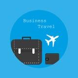 Il viaggio d'affari piano di logo dell'illustrazione nello stile Fotografia Stock