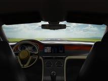 Il viaggio del Business class dell'automobile sportiva del salone all'aeroporto 3d rende illustrazione di stock