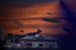 Il viaggio dello spacestation royalty illustrazione gratis