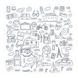Il viaggio disegnato a mano, turismo scarabocchia l'illustrazione di vettore degli elementi Fotografia Stock