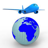 Il viaggio mondiale mostra l'aeroplano Jet And Planet Fotografia Stock