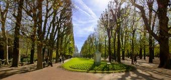 Il viale principale nei giardini del Lussemburgo Immagini Stock Libere da Diritti