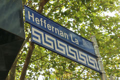 Il vicolo di Heffernan è una parte del recinto greco di Melbournes, un'area culturale concentrata sull'estremità est della via di Immagini Stock