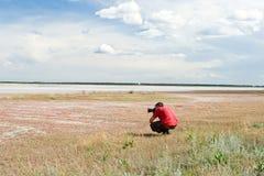 Il video operatore lavora alla banca del lago salato Fotografia Stock Libera da Diritti