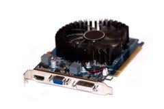 Il videocard del computer è sui precedenti bianchi. Fotografie Stock Libere da Diritti